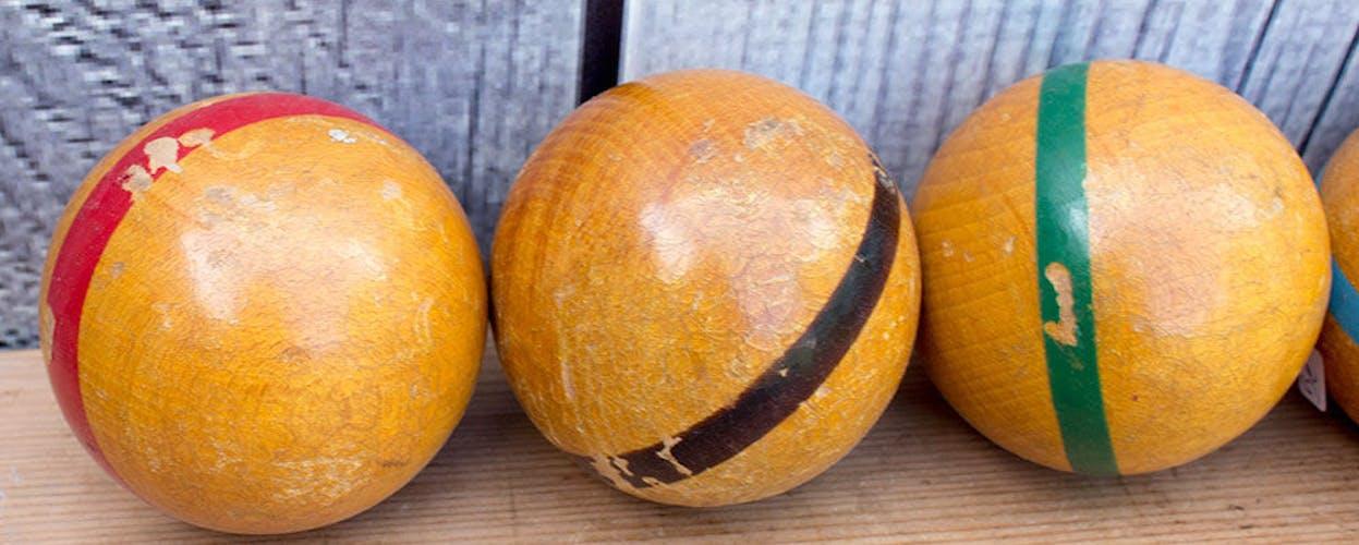 Old set of 7 wooden deco balls