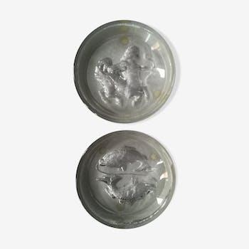 Duo de cendriers en verre