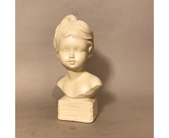 Buste sculpture fille enfant plâtre