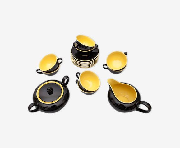 service 8 tasses caf avec sucrier et un pot lait en c ramique noir et jaune villeroy. Black Bedroom Furniture Sets. Home Design Ideas