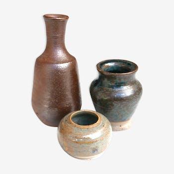 Lot de 3 petits vases en grès années 70