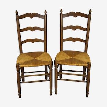 Paire de chaises artisanales fin des années 70