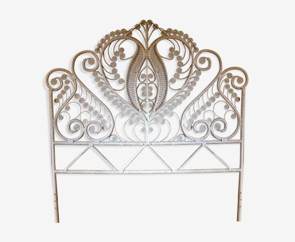 t te de lit peacock en rotin blanc rotin et osier. Black Bedroom Furniture Sets. Home Design Ideas