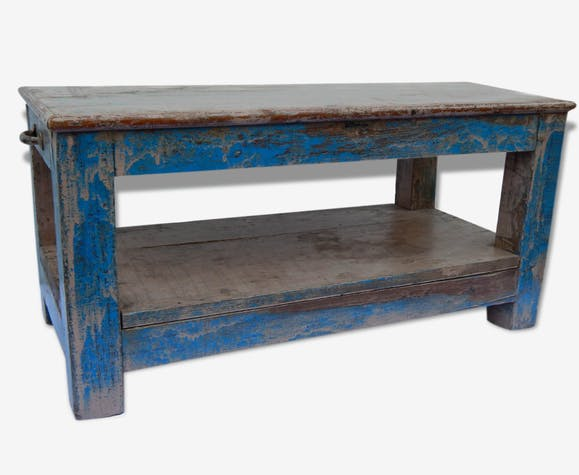 table basse banc console teck piece originale meuble indien bois mat riau bleu vintage. Black Bedroom Furniture Sets. Home Design Ideas