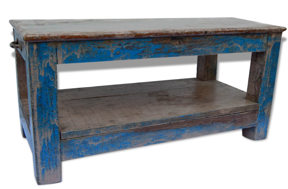 Table Basse Banc Console Teck Piece Originale Meuble Indien Bois  # Meuble Tv Indien