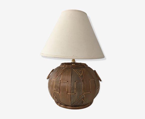 Lampe de table en rotin vintage