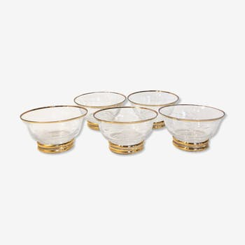 Set of 5 engraved glass cups, gold edged, 1950