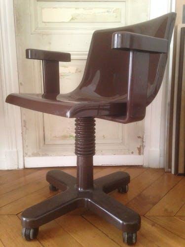 Chaise marron en métal et en plastique par Ettore Sottsass pour Olivetti Synthesis