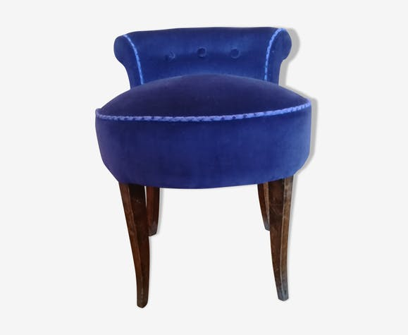 Fauteuil bas Art Déco, velours coton violet, pieds en hêtre