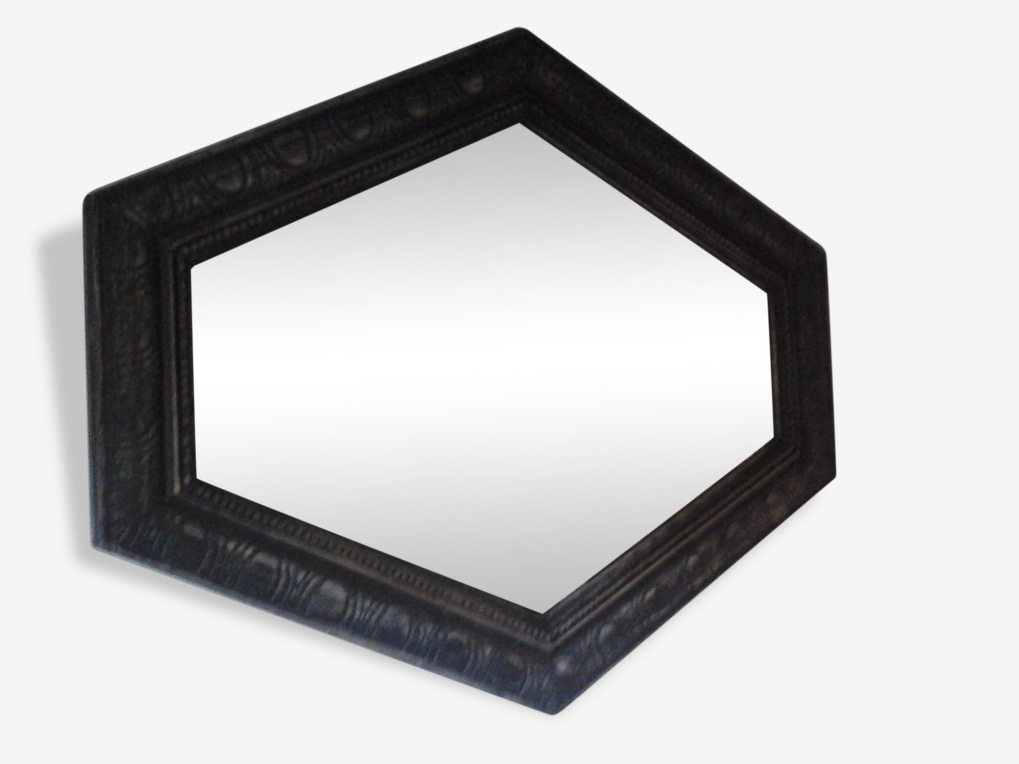 Miroir ancien hexagonal en bois