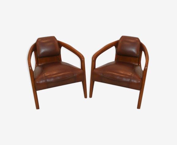 Paire de fauteuils style paquebot