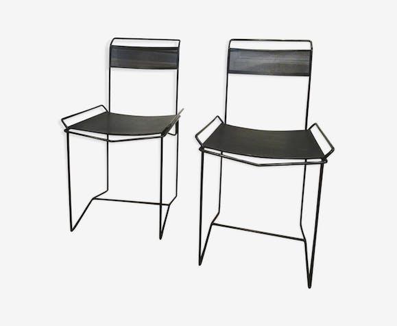 Paire de chaises métal peforé noir design