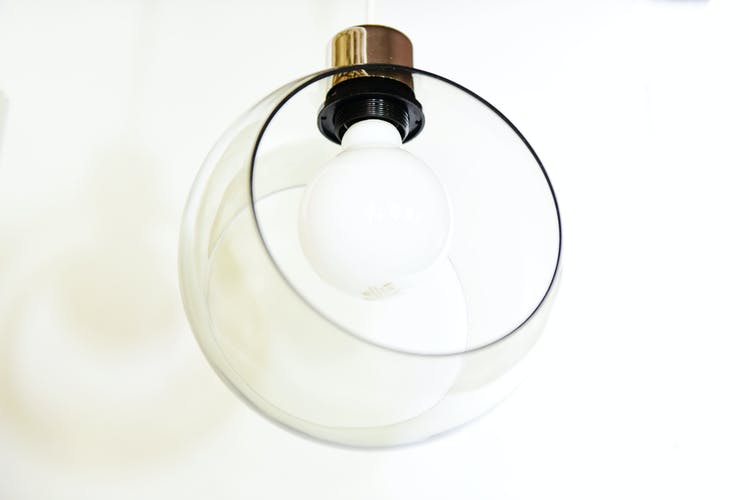 hanging lamp in glass with big light bulb