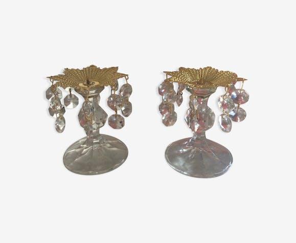 Série de 2 bougeoirs Preciosa à pampilles en cristal de bohème des années 70