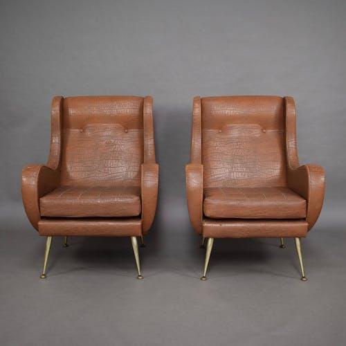 Pair of Chair Aldo Morbelli for Isa Bergamo - Italy, 1950