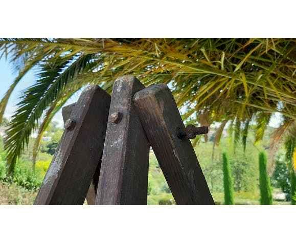Echelle double menuiserie vintage bois