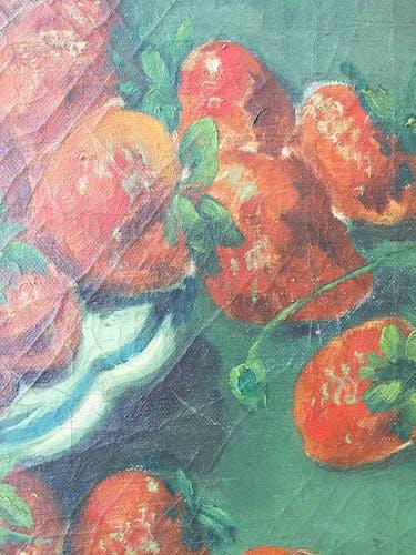Peinture à l'huile nature morte «fraises»