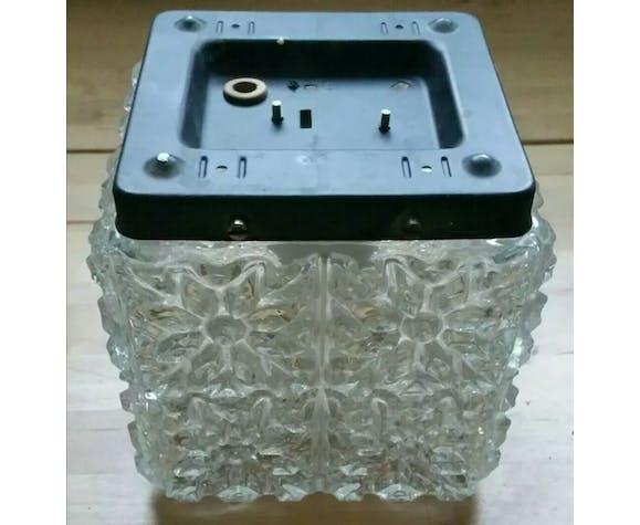 Plafonnier cube verre et métal Glashuette Limburg