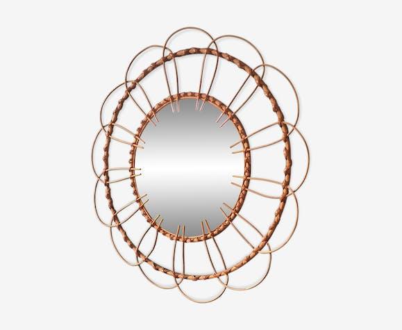 Miroir rotin soleil vintage année 70 52x52cm