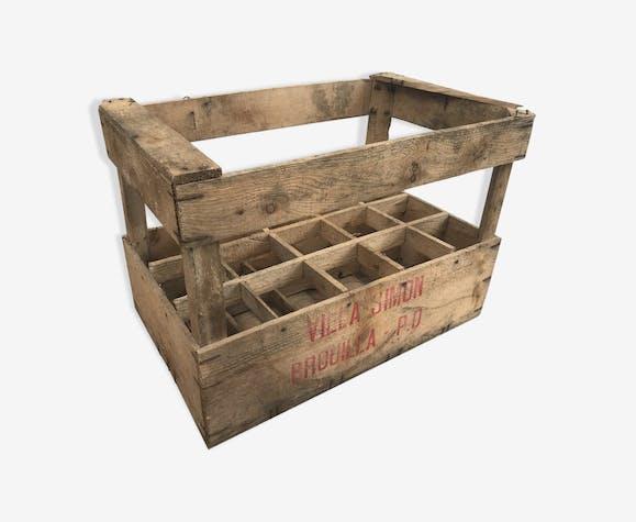 ancienne caisse vin en bois villa simon porte bouteilles x15 vintage bois mat riau bois. Black Bedroom Furniture Sets. Home Design Ideas