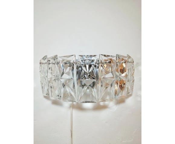 Applique en verre avec sept cristaux rectangulaires et quatre points de lumière Kinkeldey