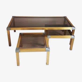 Trio de tables dorées vintage