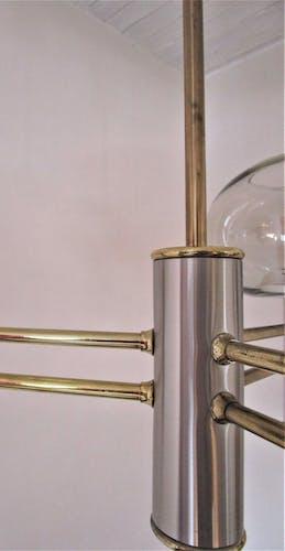 Lustre métal brossé et doré verre fumé italie années 70