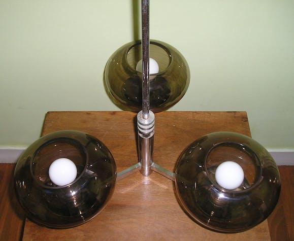 Lustre vintage Sciolari à 3 feux, métal chromé et verre fumé