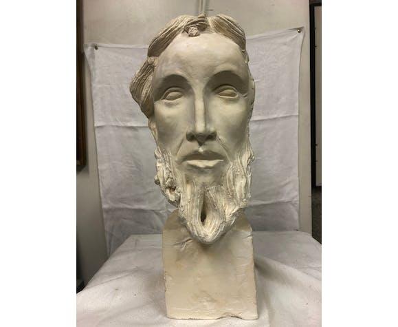 Buste en plâtre homme barbu antique