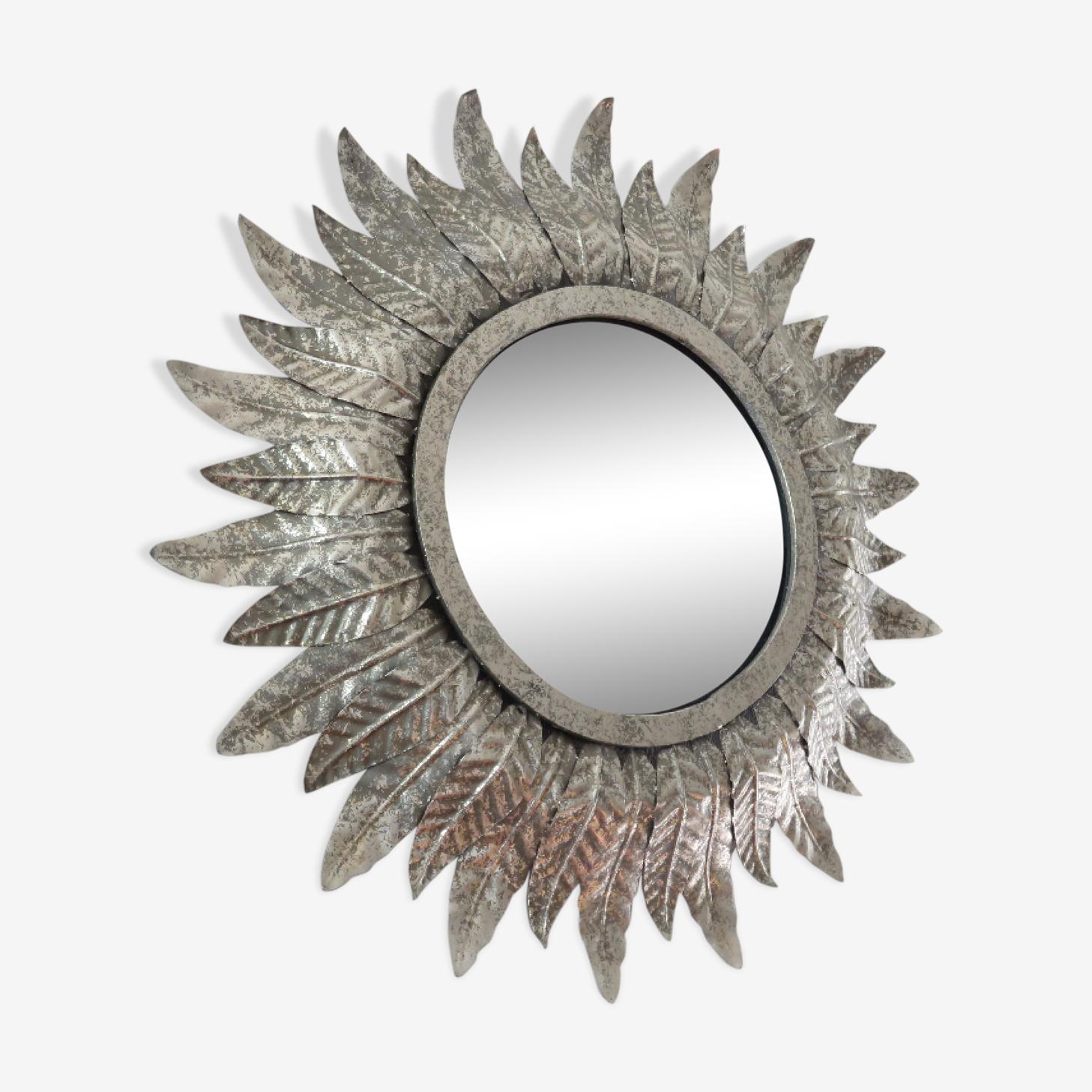 Miroir soleil oeil de sorcière métal argenté années 1970 41cm