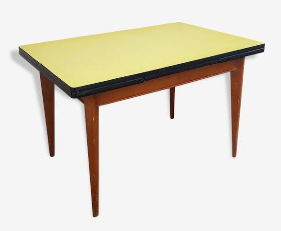 Table Formica Bois Massif Et Formica Jaune Annees 50