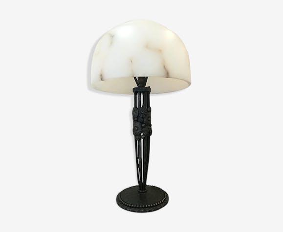 Lampe Art Deco En Fer Forge Et Albatre 1930 Fer Noir Art Deco