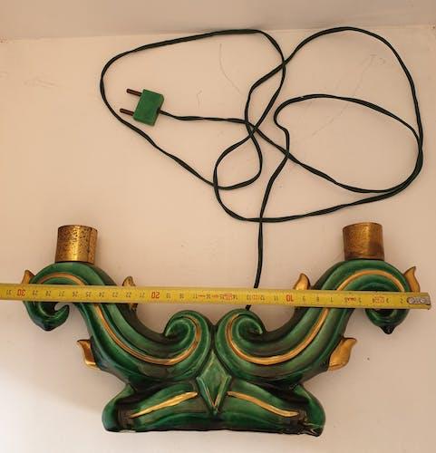 Pied de lampe double art déco en céramique vert émeraude et or