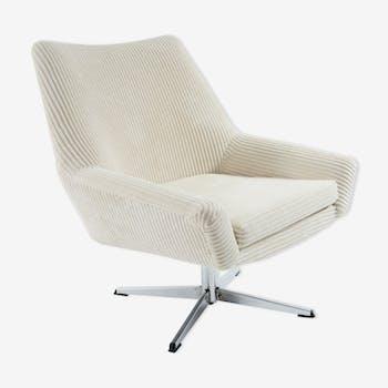 Ivory velvet swivel shell chairs