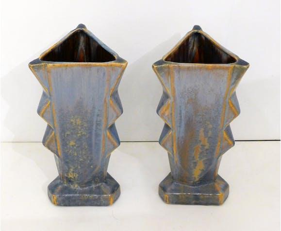 Pair of crystallized Art Deco vases