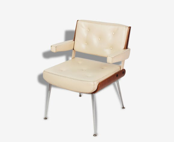 Français Skaï Beige Alain Design Fauteuil Richard 70's xoQrECBdeW