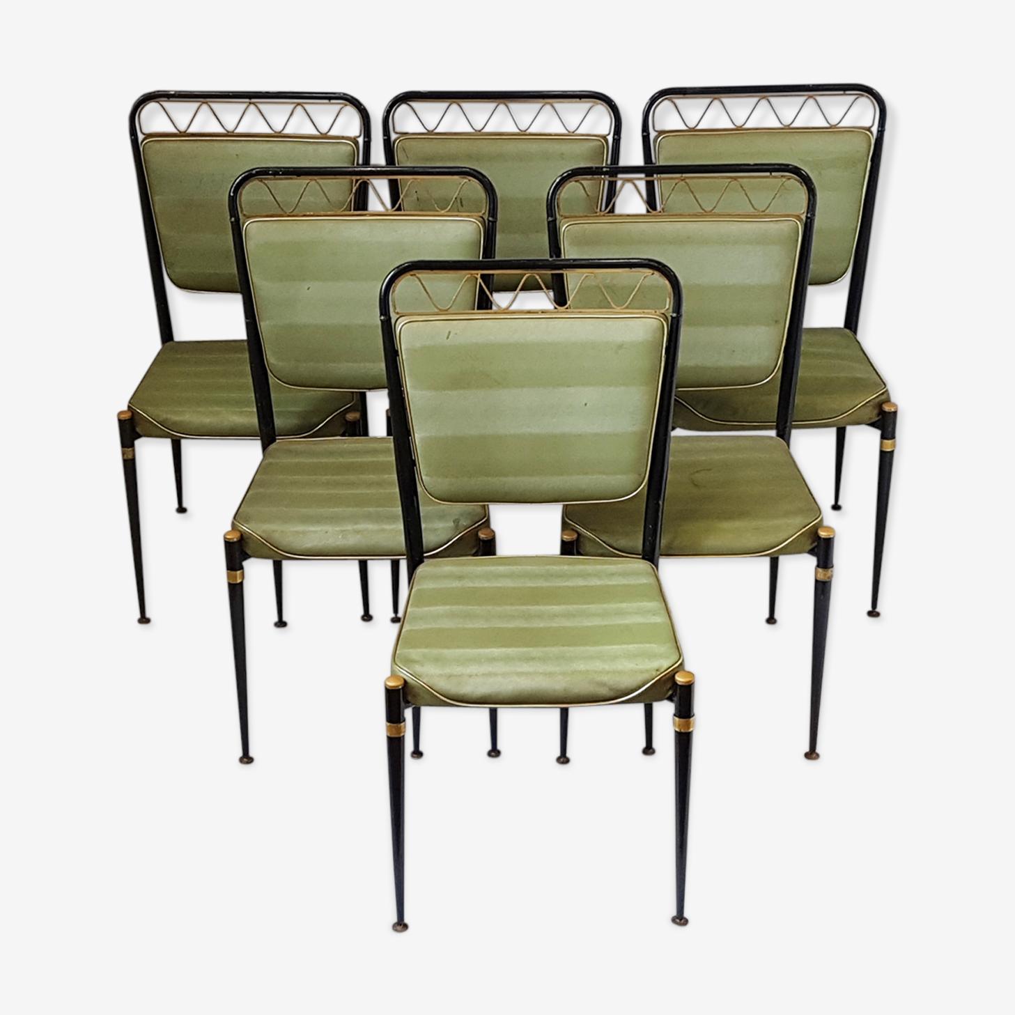 Suite de 6 chaises 1950 vintage