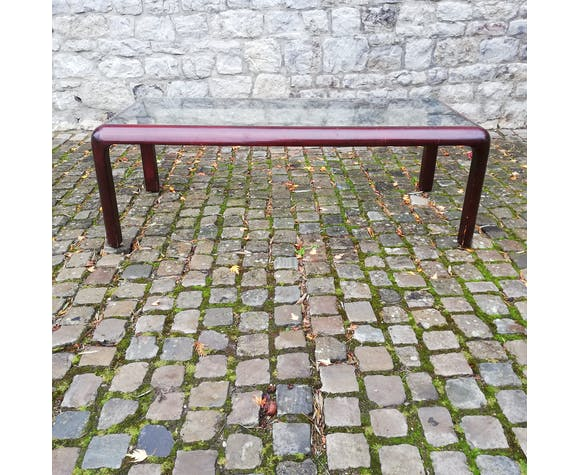 Table basse en acajou 1970