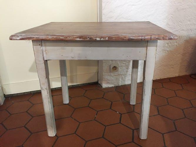 Table d'appoint rectangulaire blanche et bois