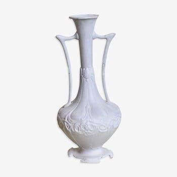 Vase en bronze patine blanc shabby
