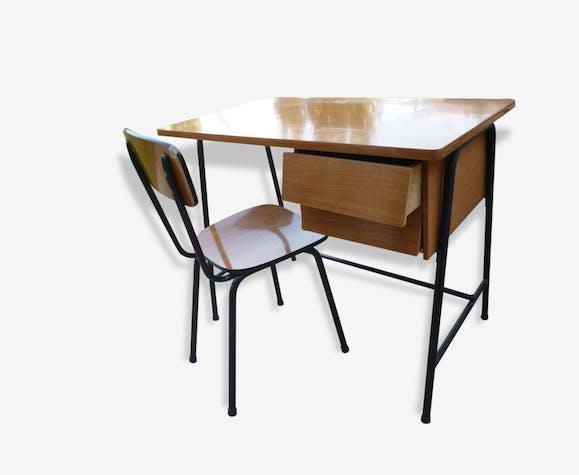 Bureau enfant formica 1960 avec chaise formica brown vintage