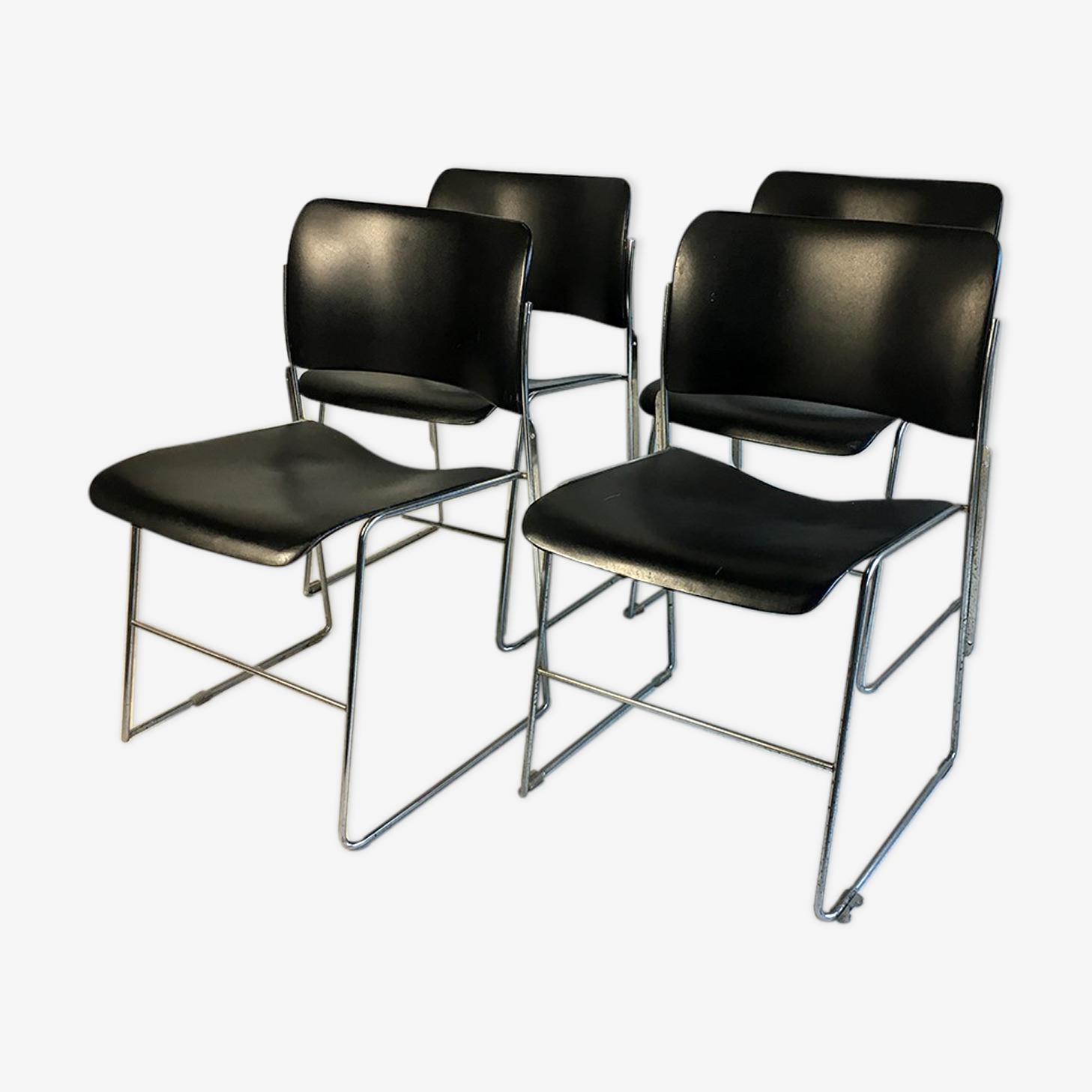 Ensemble de 4 chaises 40/4 par David Rowland pour General Fireproofing