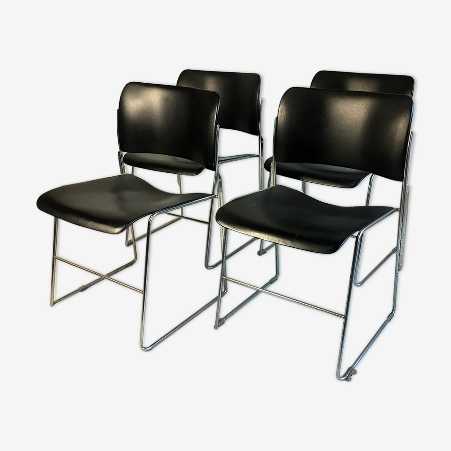 Set of 4 chairs 40/4 by David Rowland for General Fireproofing