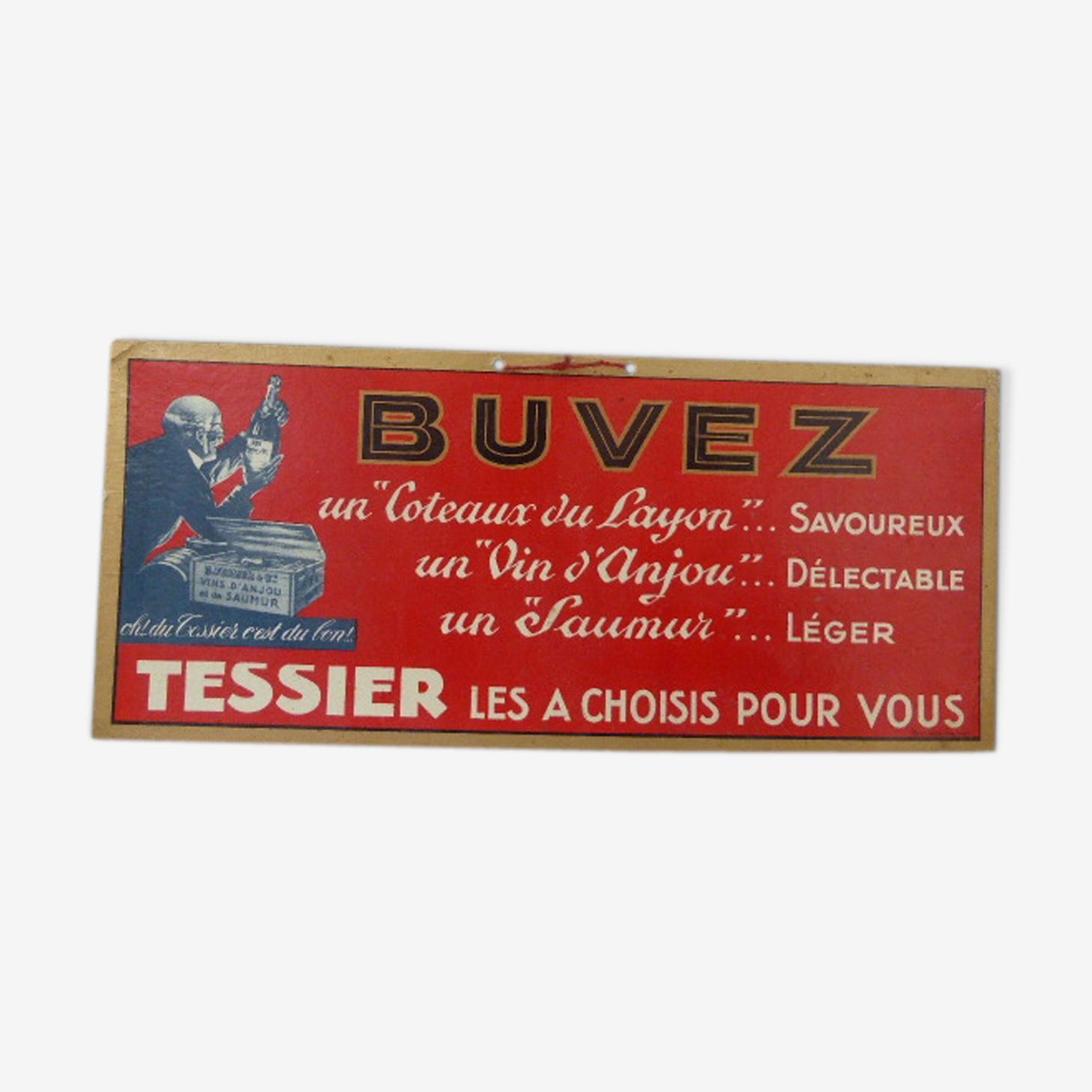 Plaque publicitaire cartonnée pour les Coteaux du Layon