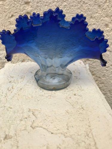 Vase éventail bleu  vintage