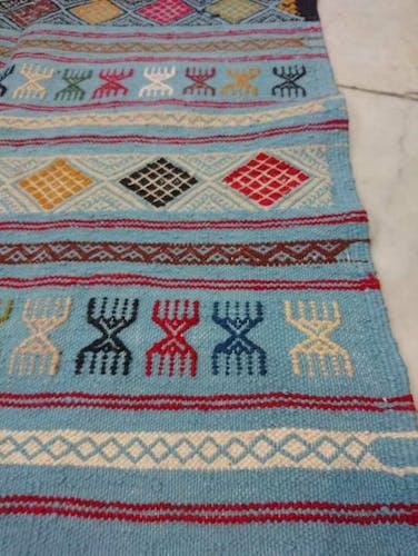 Tapis kilim bleu fait à la main 95x195cm