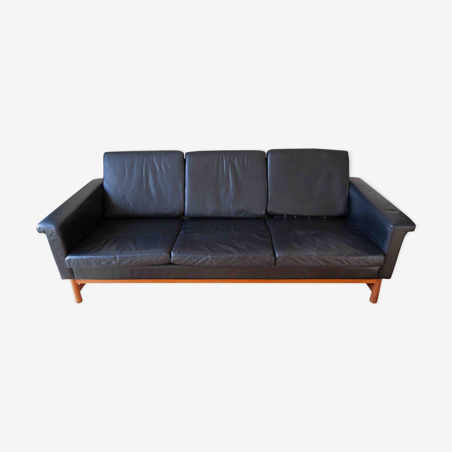 Canapé scandinave cuir / teck design vintage