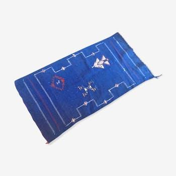 Tapis vintage en sabra bleu majorelle 120 x 53 cm