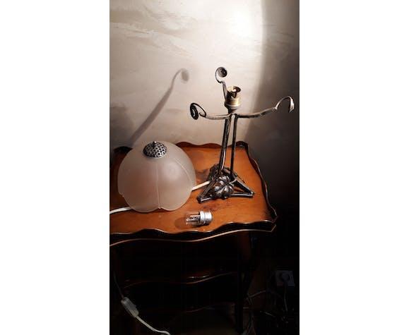 Lampe ancienne style Art Deco en fer forgé | Selency
