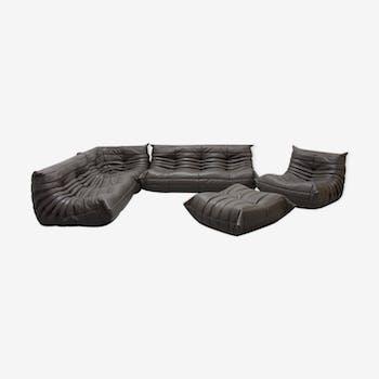 """Set de canapé """"Togo"""" en cuir gris foncé par Michel Ducaroy pour Ligne Roset"""